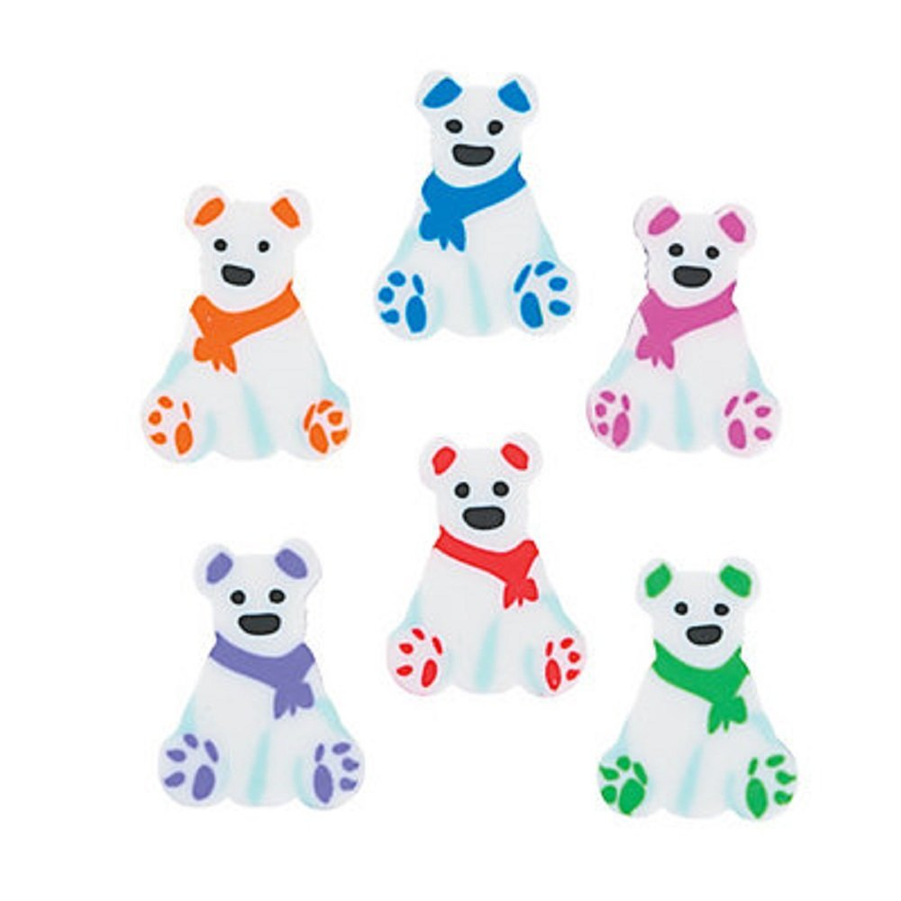 "144 (1 Gross) ~ Polar Bear Mini Erasers ~ Approx. 1/2"" X 3/4"" (Small) ~ New ~ Holiday Stocking Stuffers, Table Sprinkles"