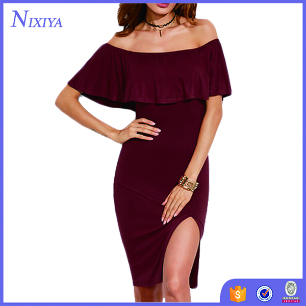 Ruffles Off The Shoulder Side Slit Knee Length Bodycon Dress