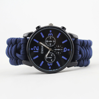6-in-1weaving paracord watch bracelet with compass fire starter whistle knife buckle survival bracelet