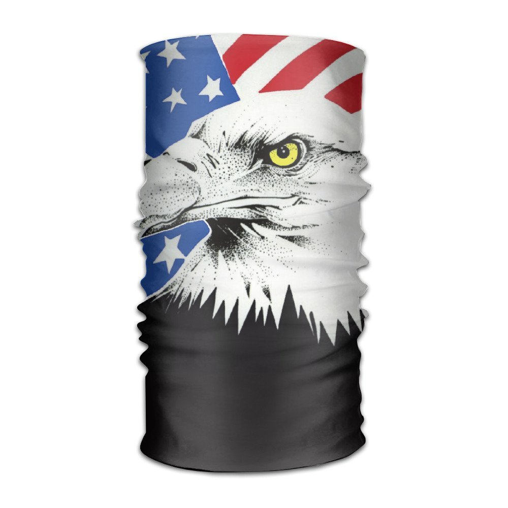 ZQQZ American Bald Eagle Multifunctional Magic Headwear 12-in-1 Men&Women Tube Scarf Facemask Headbands Neck Gaiter Bandana Balaclava Helmet For Outdoor Running Yoga Work Out