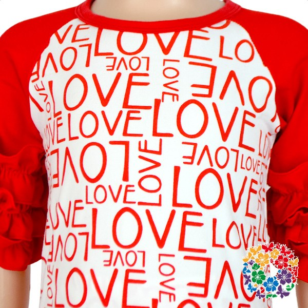 Latest Girls Valentine's Day Shirts Baby Raglan Ruffle Shirt Clothes Boutique Girls Icing Raglan Valentines Shirts Wholesale