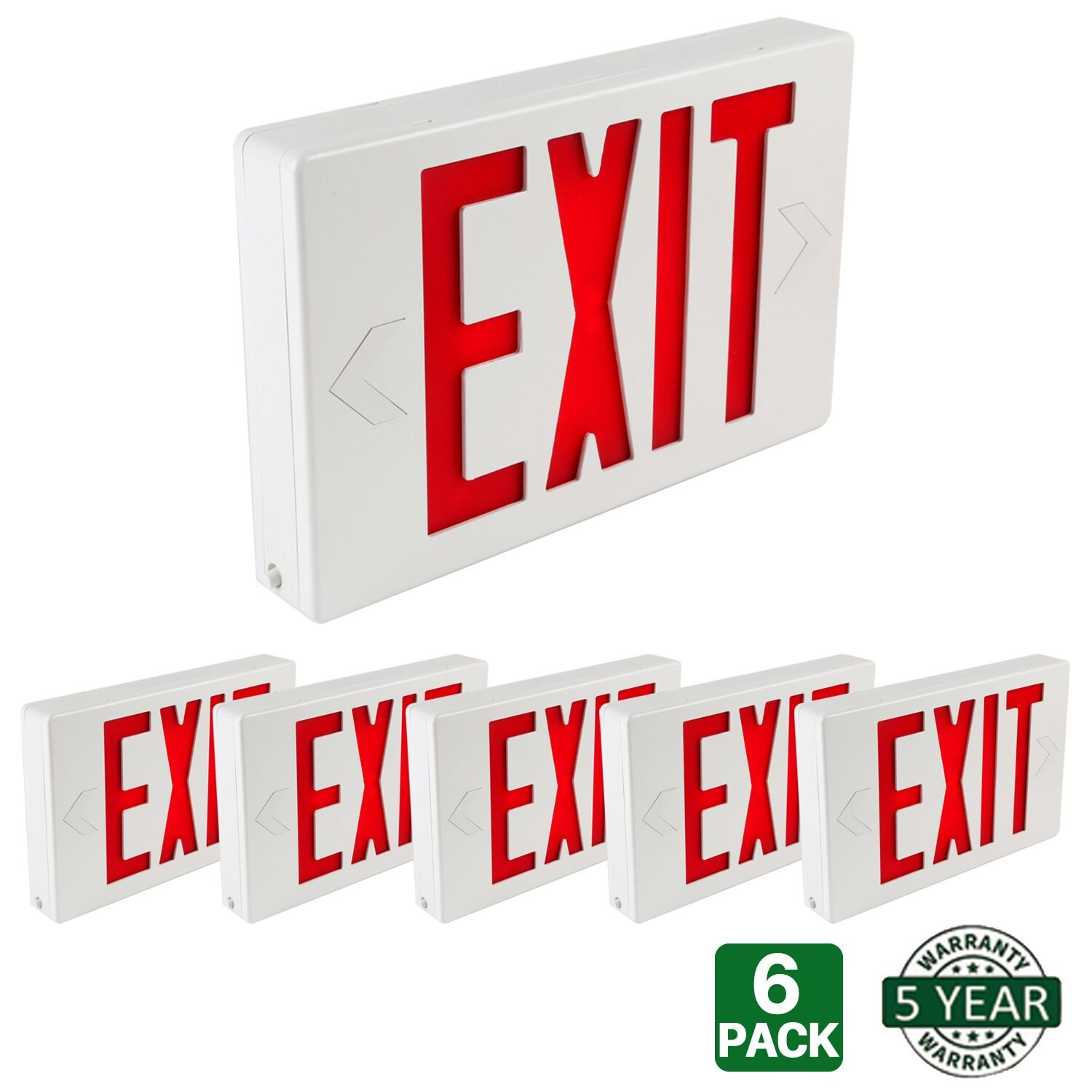 Hykolity Universal Mounting LED Exit Sign Emergency Light Lighting Double Face Red Letter with Battery Backup - Pack of 6