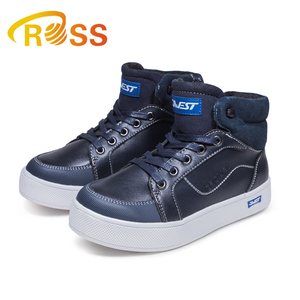 Air Fashion Kids High Ankle Boots With Zipper Navy Color Boy Sport Boot Working Flat Shoes Thick Liner Keep Warm Dance Shoes