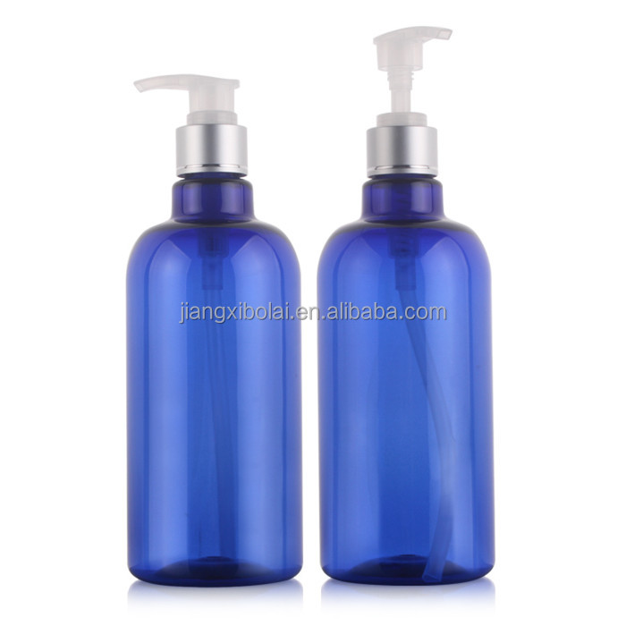 500ml Empty Blue Aluminium Neck Spray Pump Plastic Bottle for Shower Gel Shampoo Cosmetic Packaging