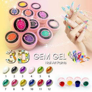 40267a 3d Gem Nail Art Draw Painting Acrylic Color Uv Gel 12 Color