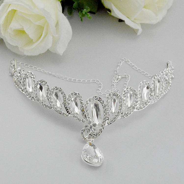 Korean fashion silver pendent bridal forehead piece women hair accessories on party