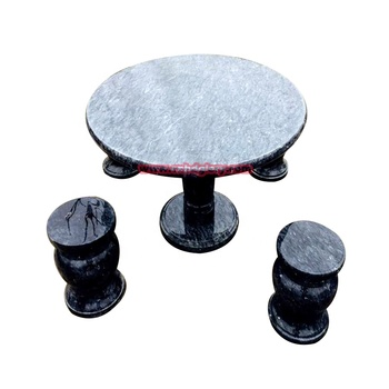 Custom natural marble round table chairs sculpture courtyard home decor