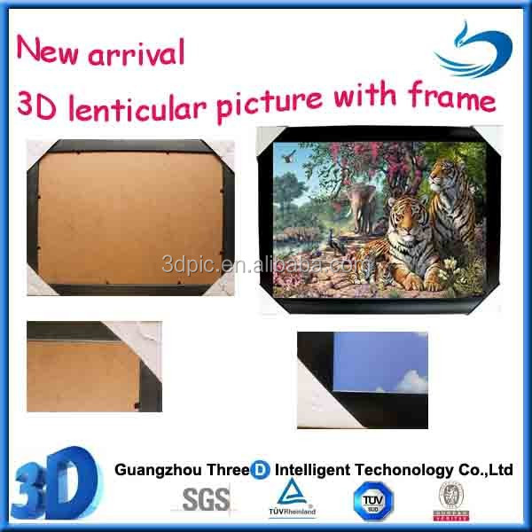 PET lenticular 3D picture with framed for decoration