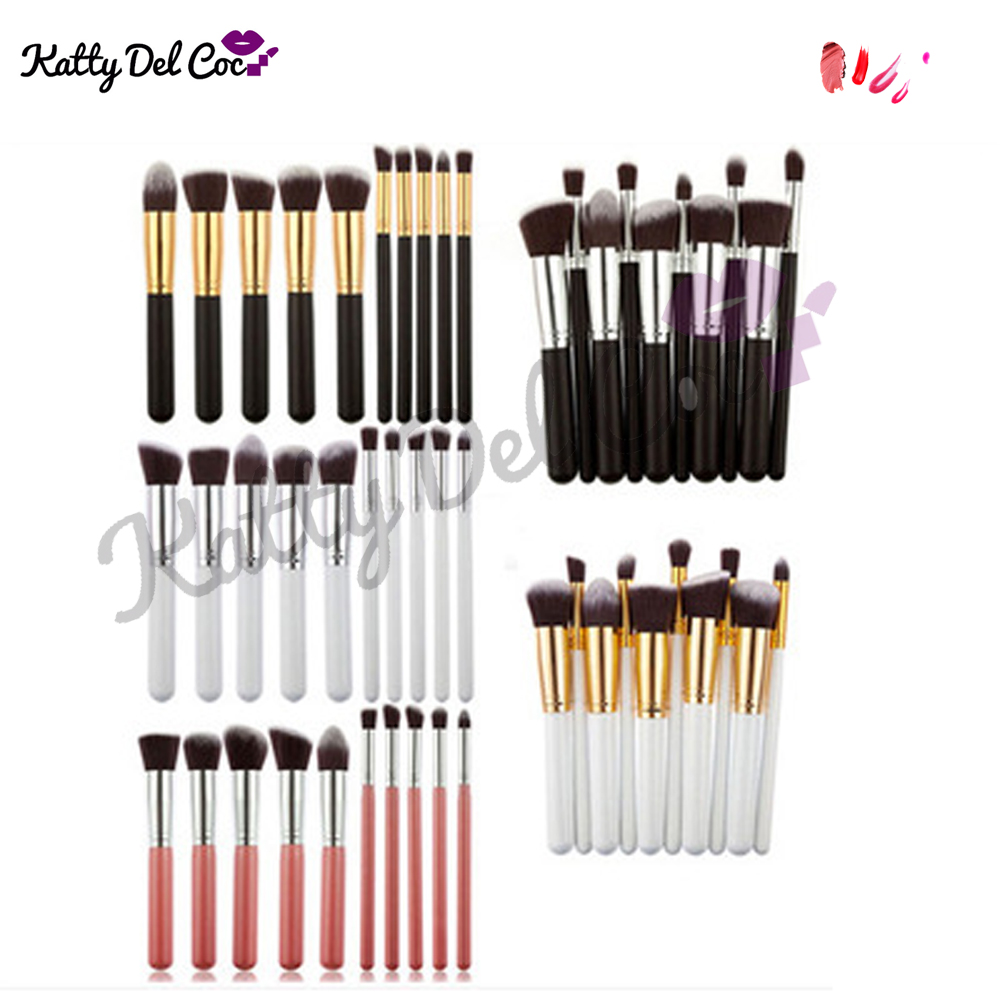 Cosmetics brush wholesale 10pcs gold alumium luxury best quality professional makeup brush set
