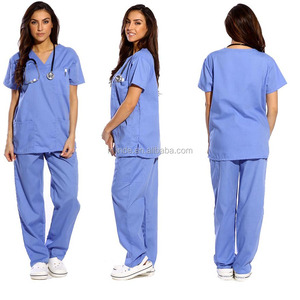 Women's Scrub Sets,Matching Top And Pants Solid Scrubs Medical Scrubs China Nursing Uniform With 6 Pockets Wholesale