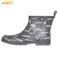 2017 Rain Boot Ladies Shiny Umbrella Day Printed Short Sporty Lined Rainboot Brand Rain Boot Design Your Own Shoe China DXF020