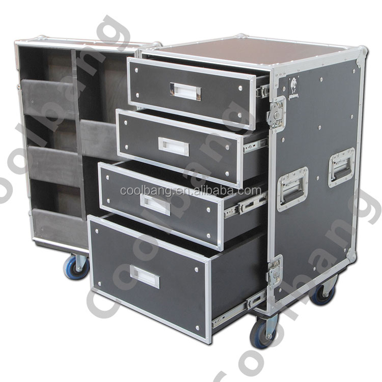 2016 manufacture high reliable aluminum tool box flight case with multi drawers