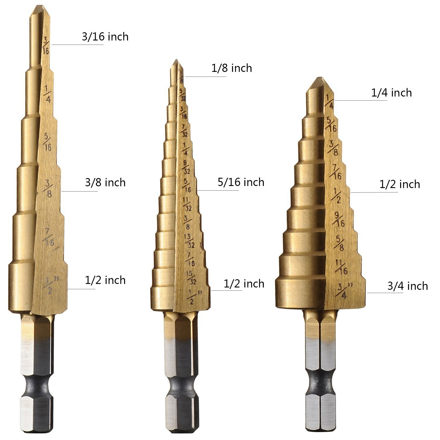 "Yakamoz 3PCS High Speed Steel HSS Titanium Step Drill Bit Set Quick-change 1/4"" Hex Shank SAE - Total 28 Sizes"