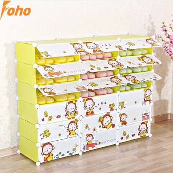 18 Cubes Green Color Mokyo Design Cartoon Door Plastic Shoe Box Can Hold 54  Pairs Shoes