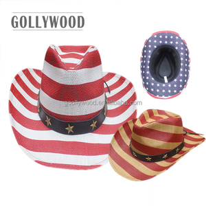Men's High Quality Paper Straw Cowboy Hat Stars and Stripes Printing Usa American Flags Hat Shapable Brim Straw Hat