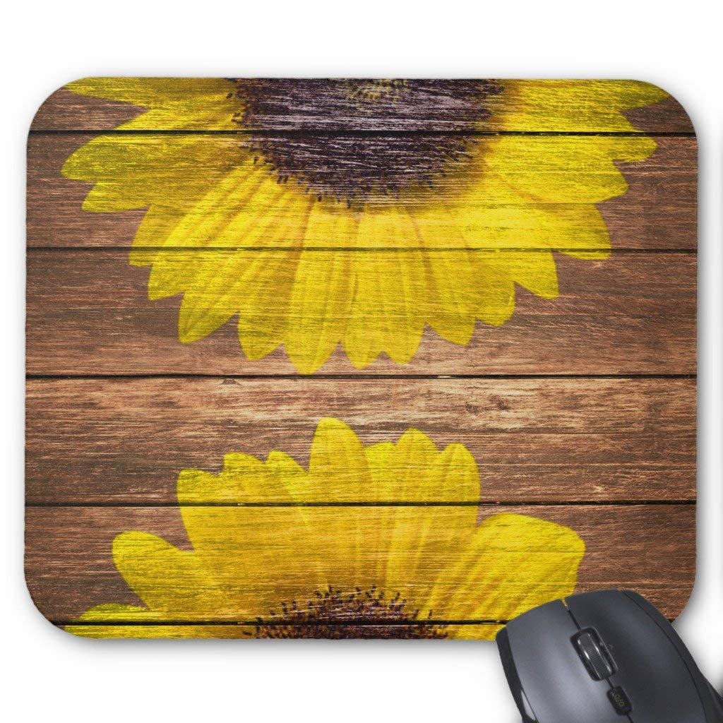 Zazzle Yellow Sunflowers Rustic Vintage Brown Wood Mouse Pad
