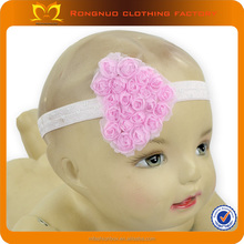 Baby Heart Stretch Headbands Baby Fabric Artificial Rose Flower Headbands Infant Ribbon Elastic Headband