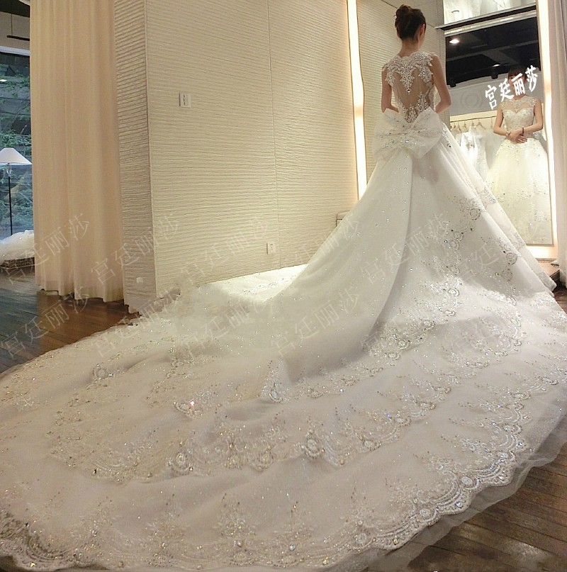 Ball Gown Wedding Dresses With Train: Super Long Train Wedding Dresses 2016 Luxury Lace Ball