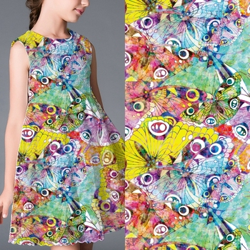 No moq breathable digital printed cloth butterfly print dress fabric from china