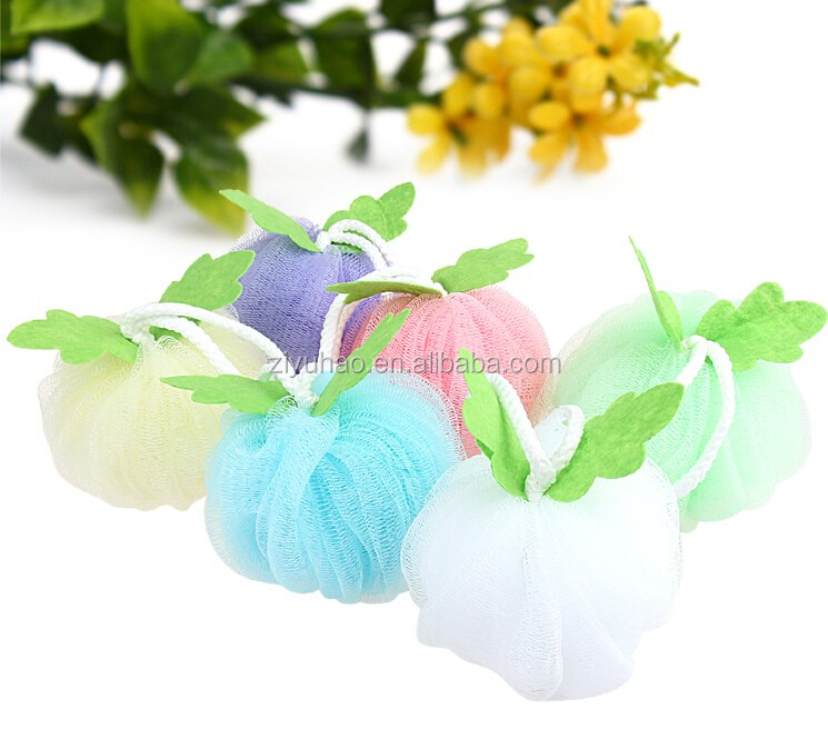 Promotional Flower Shape With Leaves Mesh Bath Sponge Wholesale