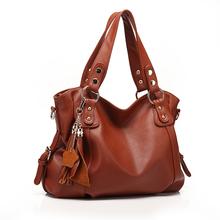 New Fashion Designer Genuine Leather&PU Leather Handbag Women Messenger Bag Tassel Shoulder Bag Crossbody 3 Color Free Shipping