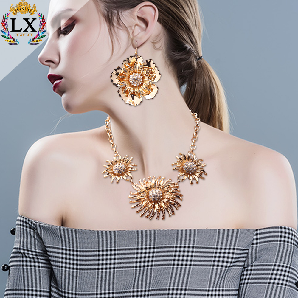 NLX-01182 싼 necklace 및 earring sets 해바라기 design wedding jewelry womens necklace set (high) 저 (quality 금 necklace set