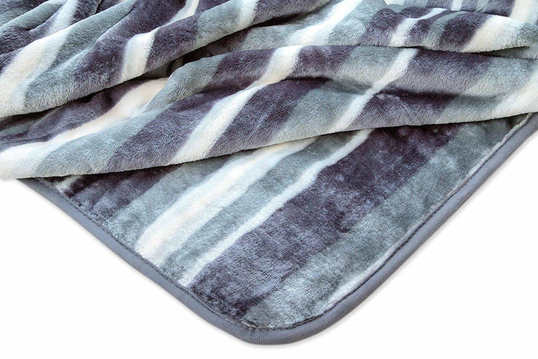 "Archangel Ultra Silky Soft Heavy Duty Quality Korean Mink Reversible Cloud Blanket Printed Stripe Grey Queen 83""x94"""