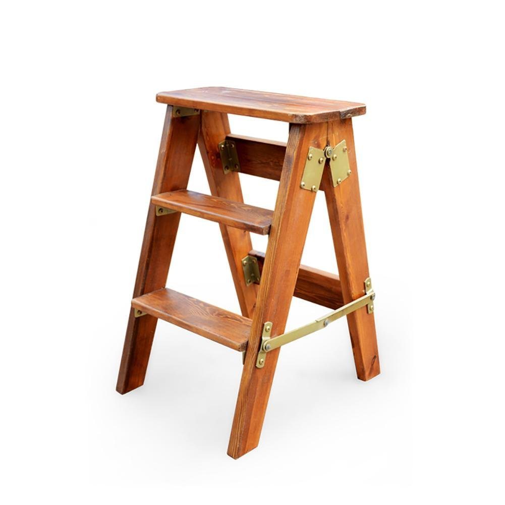 Peachy Buy Kongkry Solid Wood Pine Wood Folding Ladder Stool Pabps2019 Chair Design Images Pabps2019Com