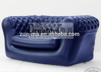 Blue Chesterfield Inflatable Sofa, Living Room Air Chair