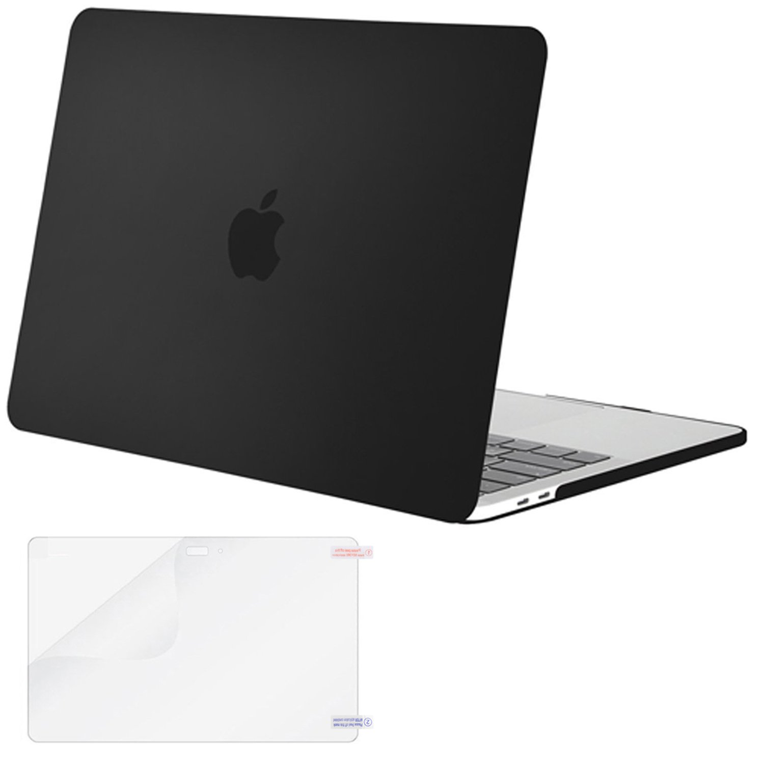 Mosiso MacBook Pro 15 Case 2017 & 2016 Release A1707, Plastic Hard Case Shell Cover with Screen Protector for Newest Macbook Pro 15 Inch with Touch Bar and Touch ID, Black