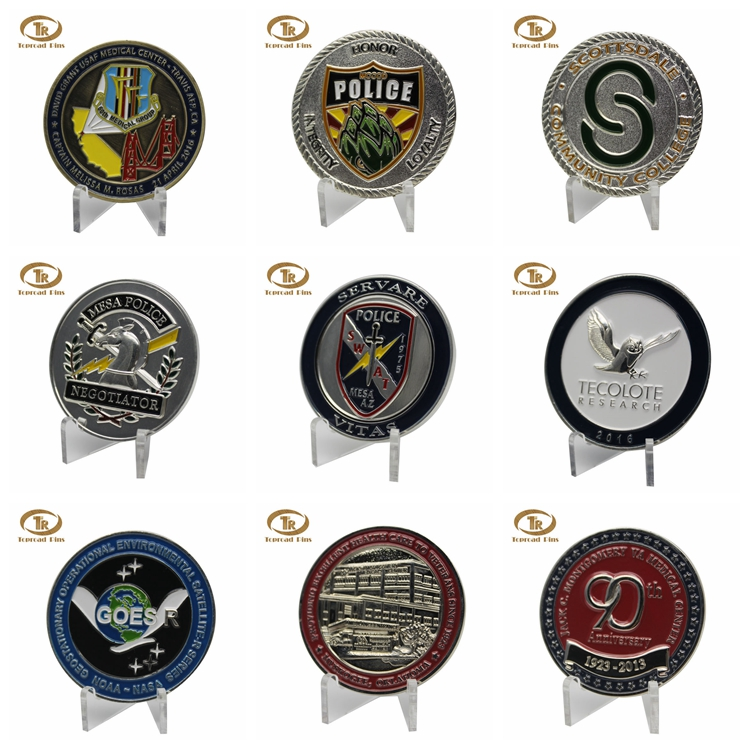 Wholesale custom design round metal coin double side collect memorial  challenge coin