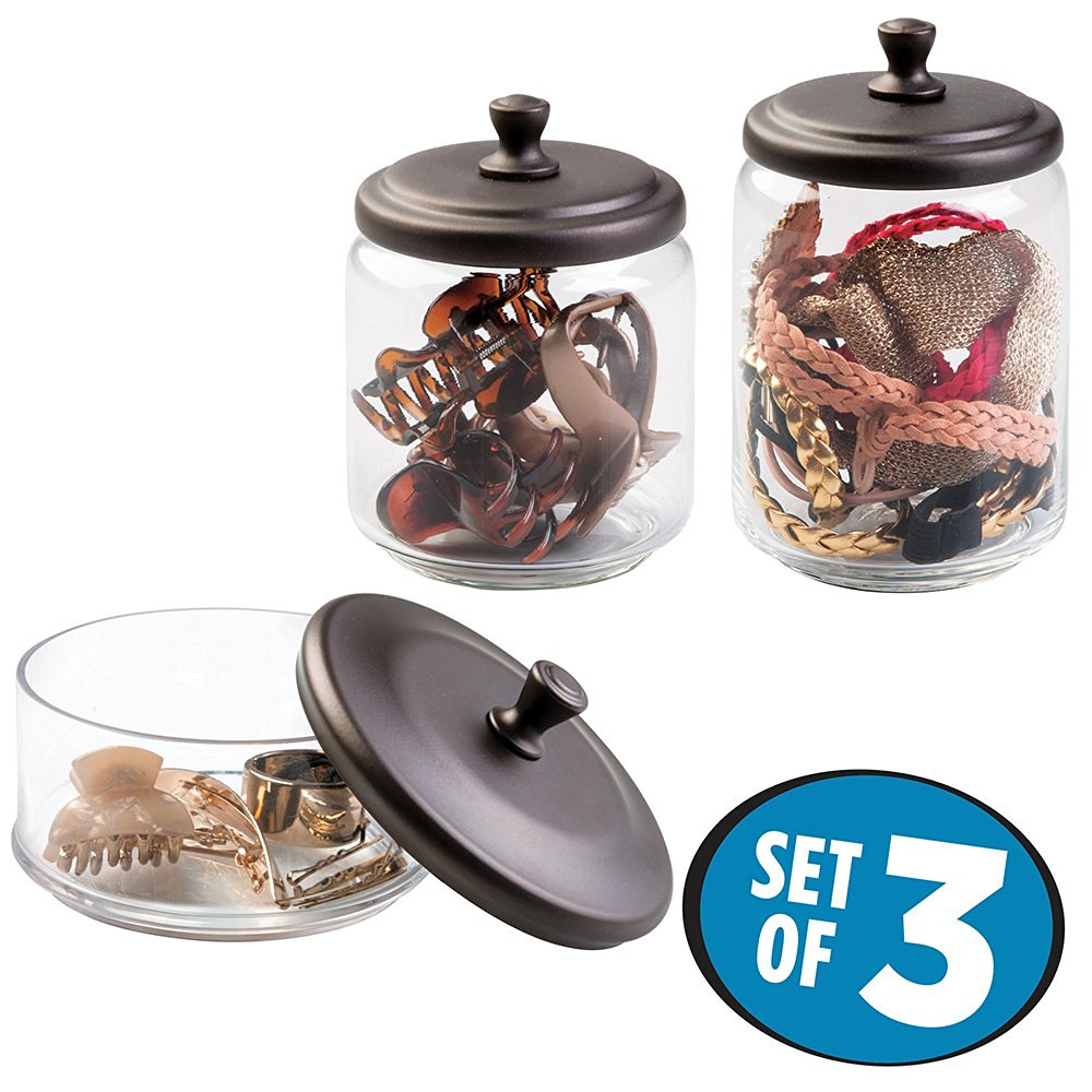 mDesign Makeup and Hair Accessory Storage Canisters - Set of 3 Glass Apothecary Jars with Lids for Bathroom Vanity Countertops, Holders Organize Combs, Clips, Barrettes, Bobby Pins - Clear/Bronze