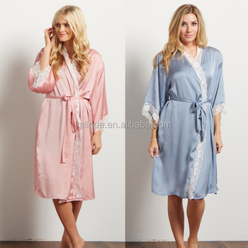 Sexy Nighty Dress For Women Fashion New Style Loose Fit Soft Satin Silk Midi  Length Pink 63a25b7fd