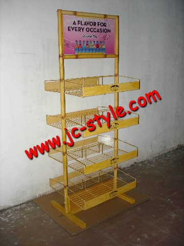 Disassemble metal display rack for soft drinks stand/fruit juice beverage bottles shelf display rack for supermarket promotion