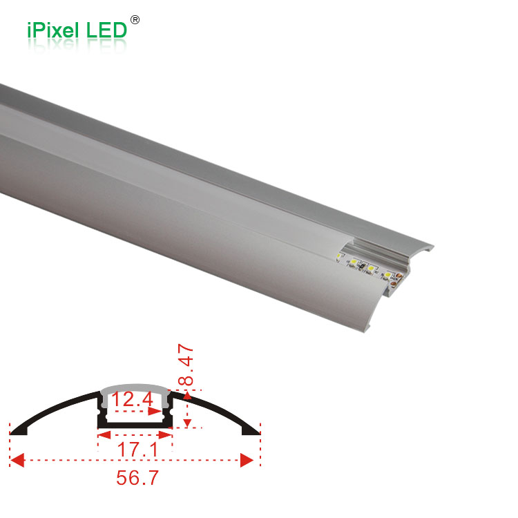 LED channel track aluminum ultra wide 56.7mm sconce aluminum channel for 12mm led strip