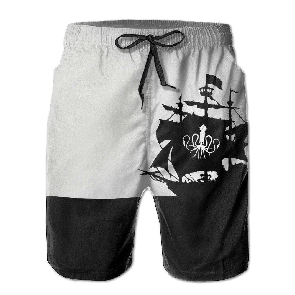 80af29b4c3 Get Quotations · Bdna Pirate Ship Men's Beach Shorts Swim Trunks Casual  Sport Print Short Pants Jogging Pants