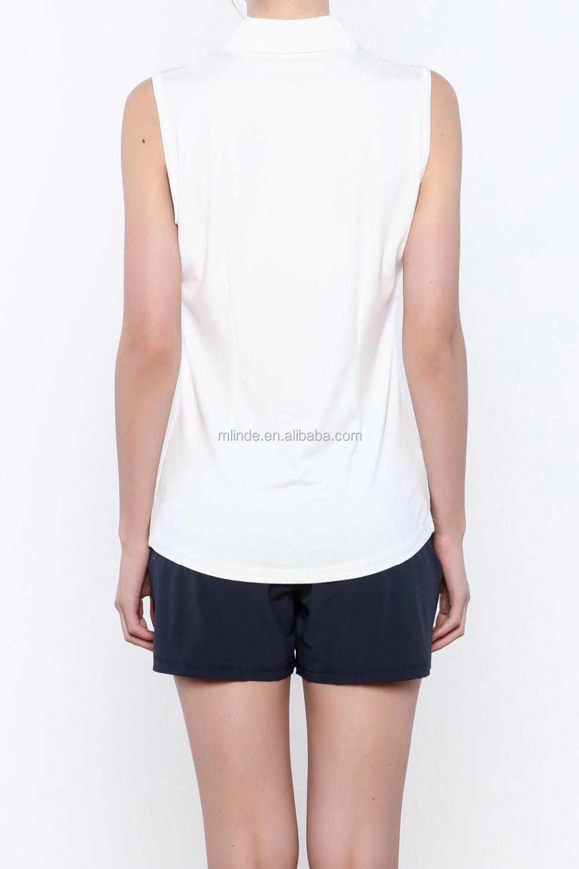 6c27f02c Women No Button Polo Shirt Custom Sleeveless Zipper Plain White Athletic  Tank Shirt Polo For Tennis Or Golf Sport Wear