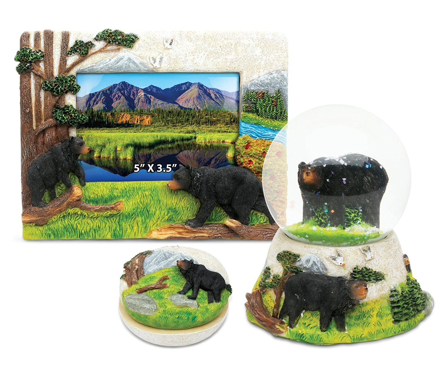 Puzzled Black Bear Resin Stone Finish Collection including Picture/Photo Frame, Jewelry Box , and Snow Globe - Picture Size 5 by 3 - Unique Elegant Gift and Souvenir