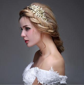 Elegant Golden Bridal Hairbands With Pearls Crystal Crown Tiara Headpieces Wedding Hair Accessories