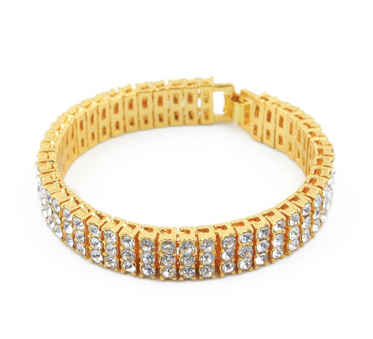 Trendy Bling Bling Gold Hip Hop 3 Row CZ Jewelry Bracelet Designs For Men