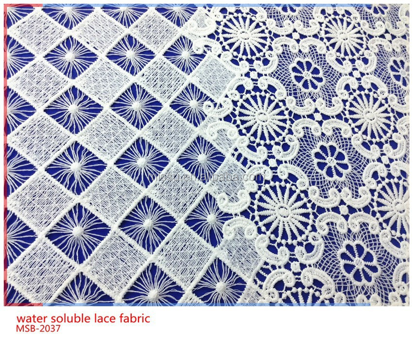 2017 new fashion 100% polyester water soluble lace fabric