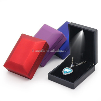 Leather Led Jewelry Box Wedding Ring Pendant Necklace Boxes With Led