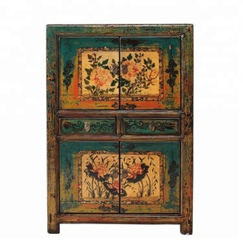 Factory Old Pine Wood Antique Cabinet Furniture With Painting