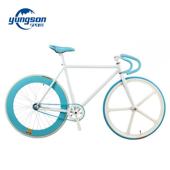 Fixed Gear Bike 700c Single Speed Track Bicycle White Frame Blue ...