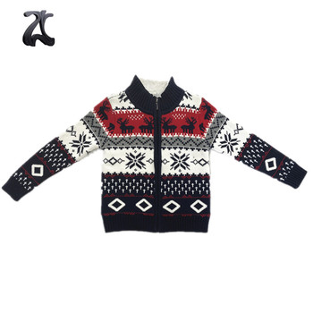 2018 Latest Design Mock Neck Zip Up Baby Boys Christmas Sweater For