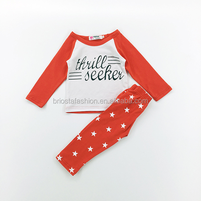 Children Five-pointed star Red Cotton Suit