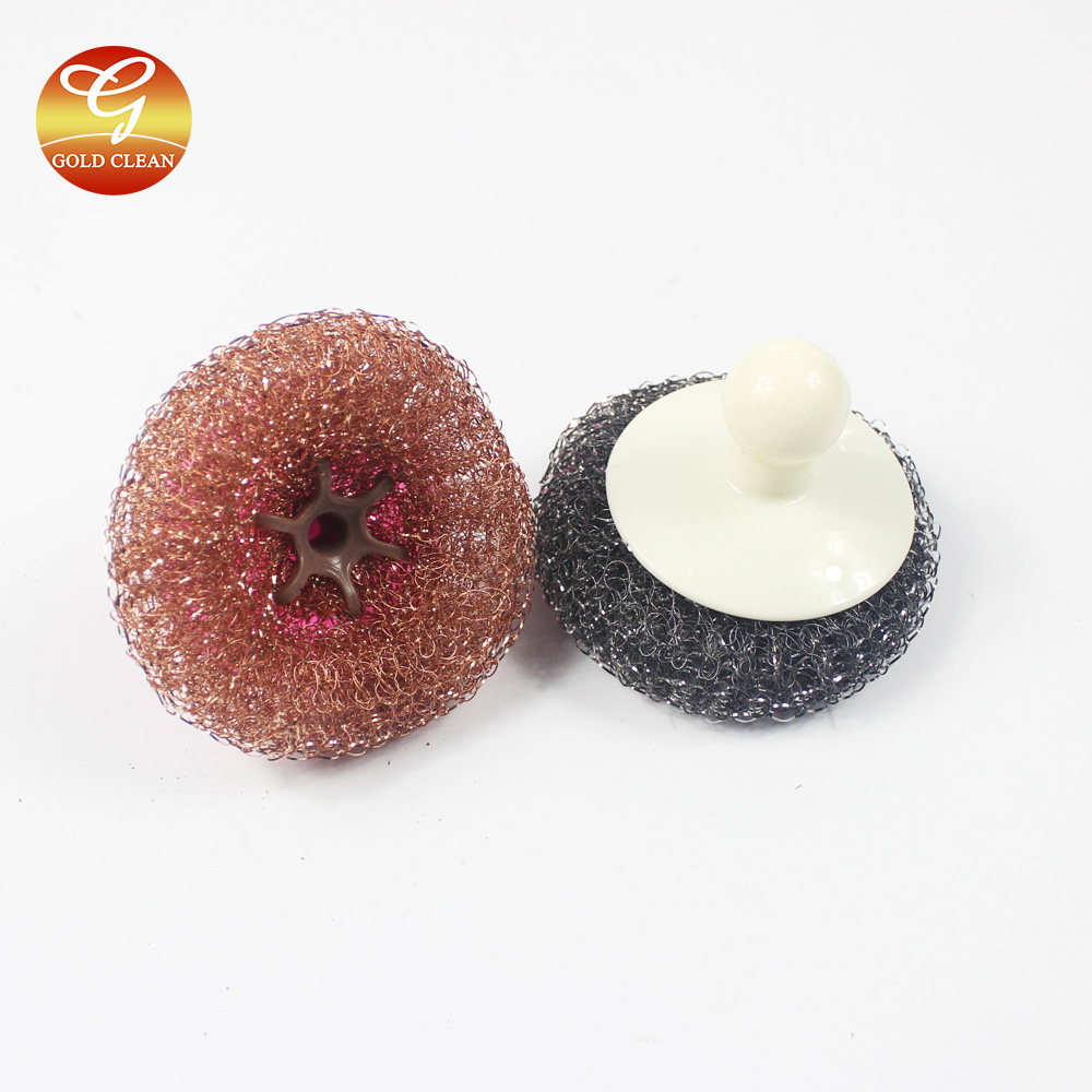 Copper mesh scourer with handle