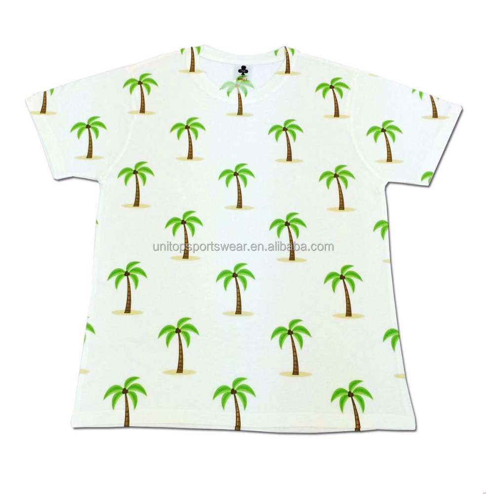 Dye 3D all over print sublimation All Over Print Palm Trees Graphic T Shirt Beach Sublimation