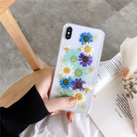 Dried True Flower Phone Case for iPhone X Transparent Soft TPU Handsome Pressed Back Cover for iPhone X 8 7 6S Plus