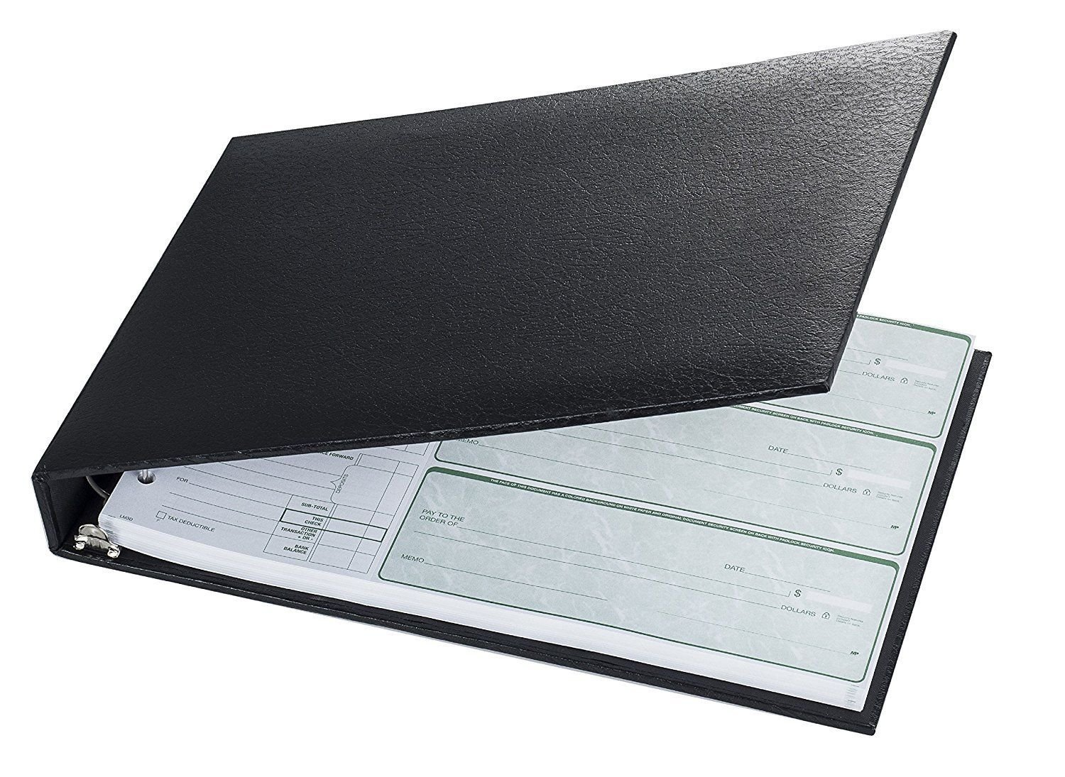7-Ring 3-on-a-Page Business Check Book Binder - BlackNEW